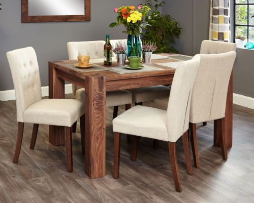 Mayan Walnut Small Dining Table and Chair Sets